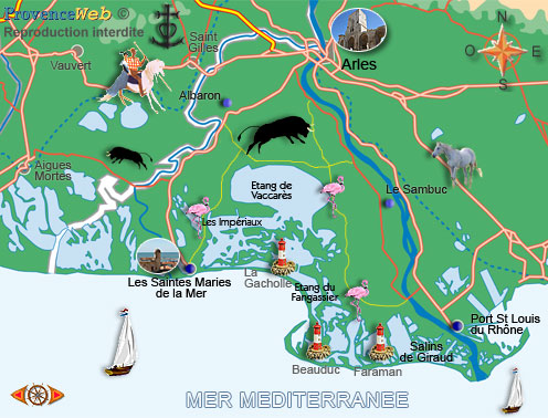 Camargue map provence web - Office tourisme saintes maries de la mer ...