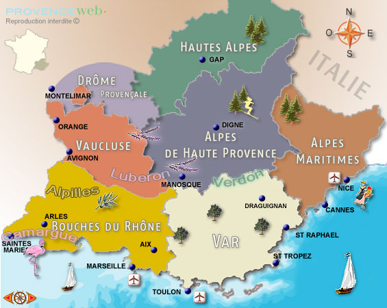 France Map With Regions.Maps Of Provence And French Riviera Provence Web