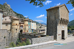 Entrevaux, door of the medieval village with its drawbridge
