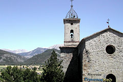 Marcoux, landscape and bell-tower
