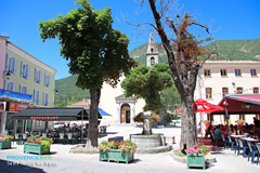 Saint Andre les Alpes, fountain and church square
