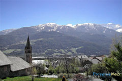Saint Pons, bell-tower and mountain