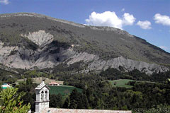 Aspres sur Buech, bell-tower and mountain