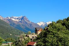 Briancon, typical chalets and mountain