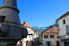 Chorges, fountain, streets and mountain