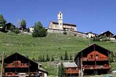 Saint Veran, church and chalets