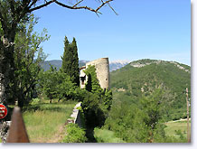 Montbrun les Bains, tower and view on the Mont Ventoux