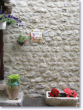 Saint May, stone wall and flowers