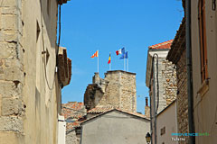 Tulette, tower and flags