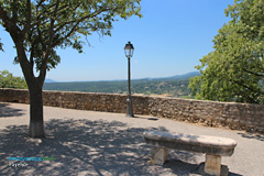 Fayence, bench and panoramic landscape