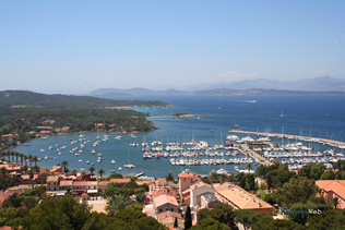 Porquerolles, marina and fort Saint Agathe